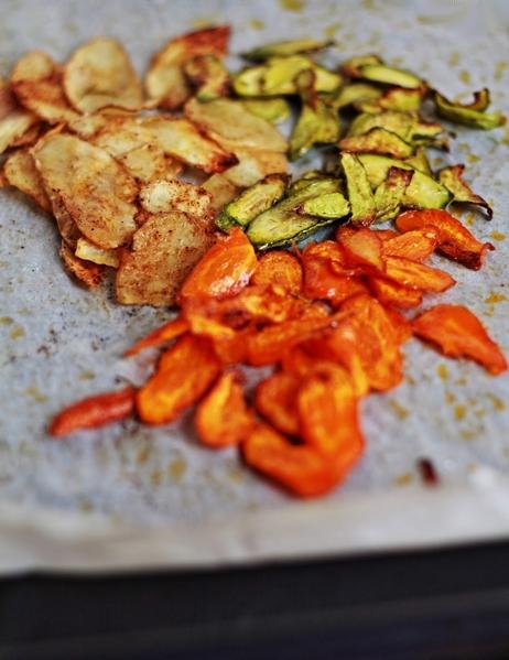 chips di patate carote zucchine al forno speziate