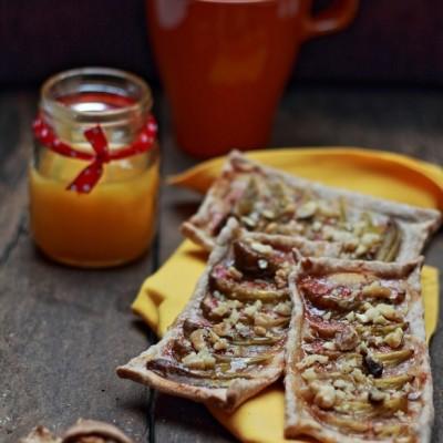 Sfoglie integrali con fichi, noci e miele