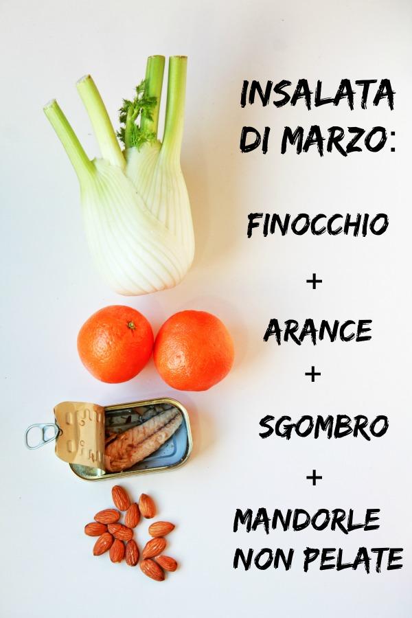 ingredienti insalata finocchi, arance, sgombro e mandorle