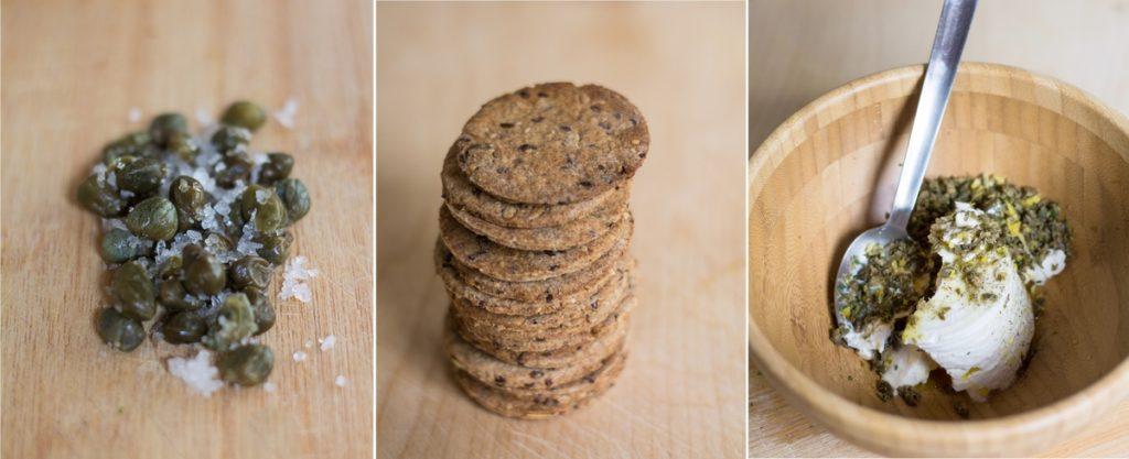 crackers integrali con salmone e crema di capperi preparazione