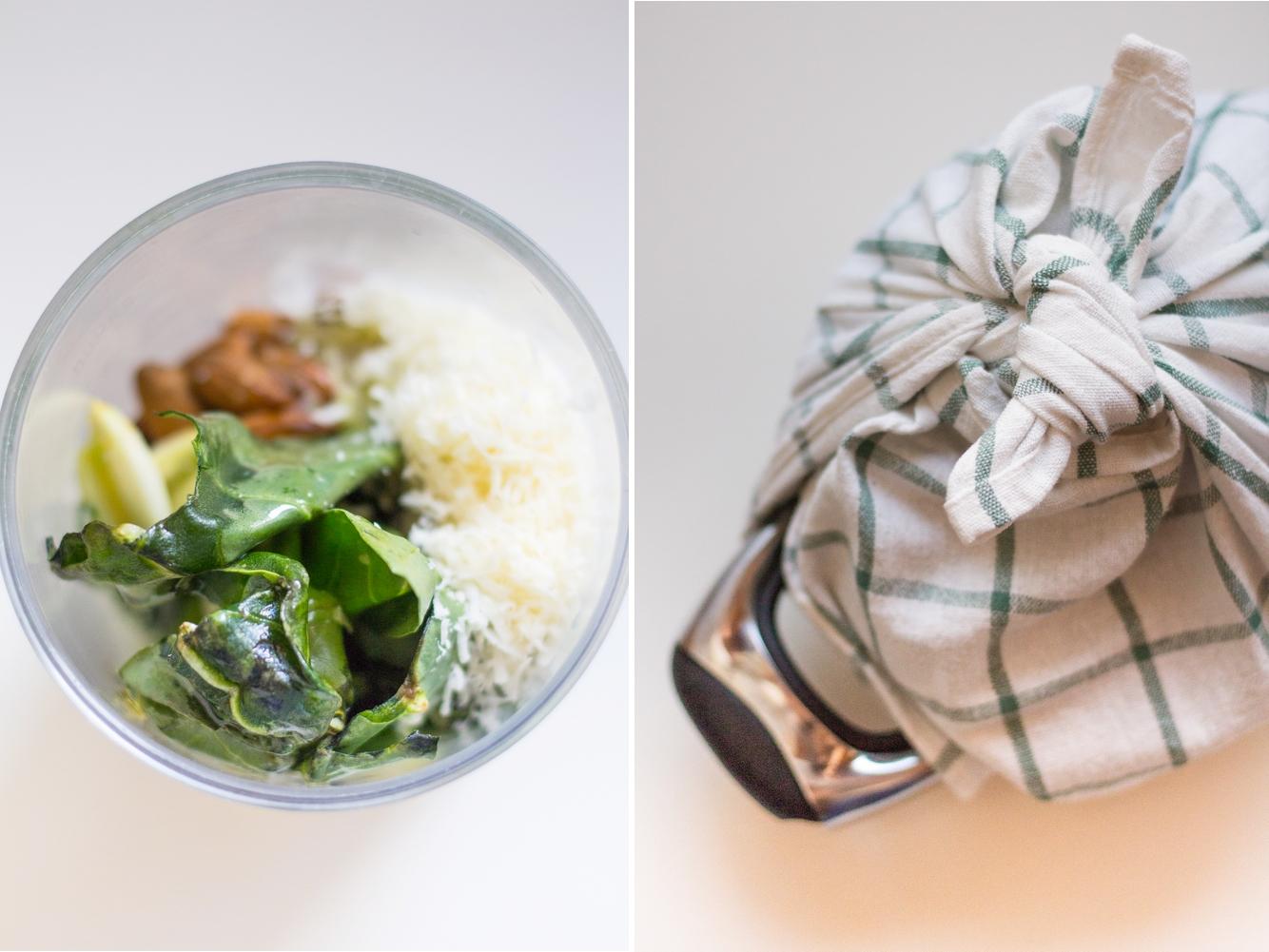 ingredienti dell'insalata di riso integrale al pesto di bietoline