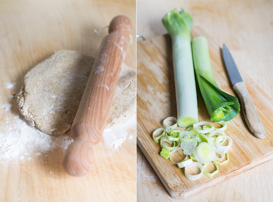 torta salata vegan porri e ceci