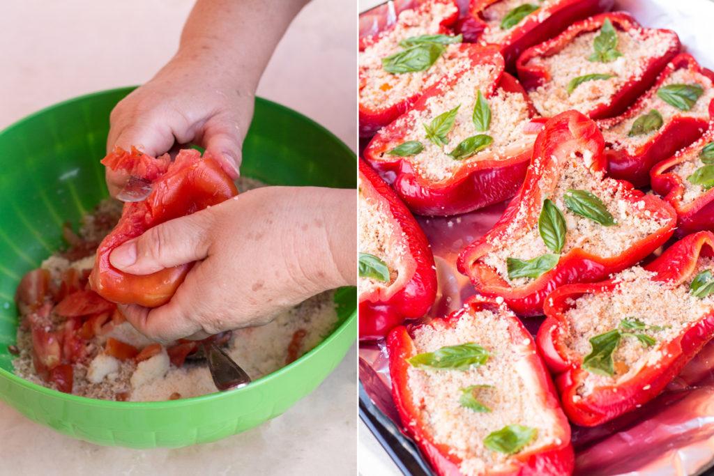 la preparazione dei peperoni rossi ripieni